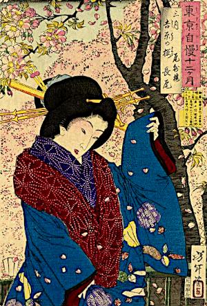 花冷えの俳句と季語(東京自慢十二ヶ月三月吉原の桜・芳年・ 国会図書館オンライン)