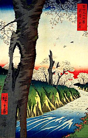 桜の俳句と季語(冨士三十六景・武蔵小金井・広重一世・国会図書館オンライン)