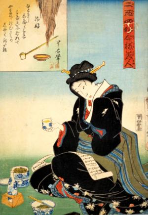温め酒の俳句と季語(豊国酒好:国会図書館)