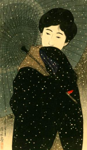 初雪の俳句と季語(深水画集国会図書館)