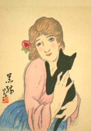 季語と俳句で恋猫(竹久夢二)