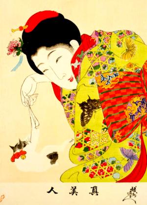 季語と俳句で子猫(猫とたわむれる婦人)