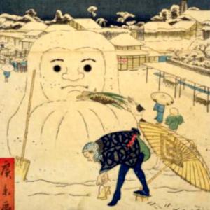江戸名所道戯尽の雪達磨と季語
