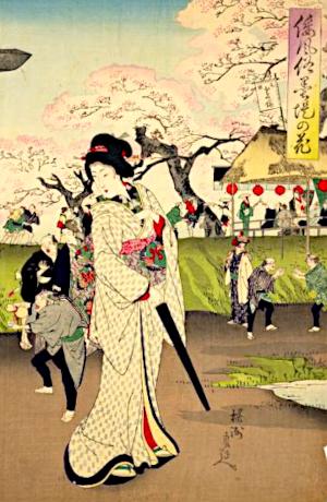花の雨の俳句と季語(倭風俗墨堤の花・国会図書館オンライン)
